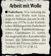 Zeitungsartikel: Arbeiten mit Wolle